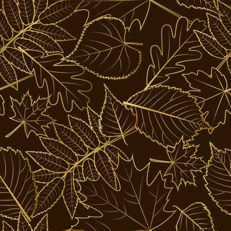 Vektor nahtlose Muster. Goldene Umriss Blätter im Herbst auf schwarzem Hintergrund. Fall-Illustration. Luxus-Design-Konzept für Stoffdesign, Textildruck, Packpapier oder Web-Hintergründe.