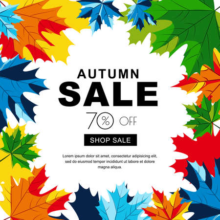 fall leaves background: Autumn sale banners with multicolor maple autumn leaves. Vector fall poster background. Layout for discount labels, flyers and shopping.