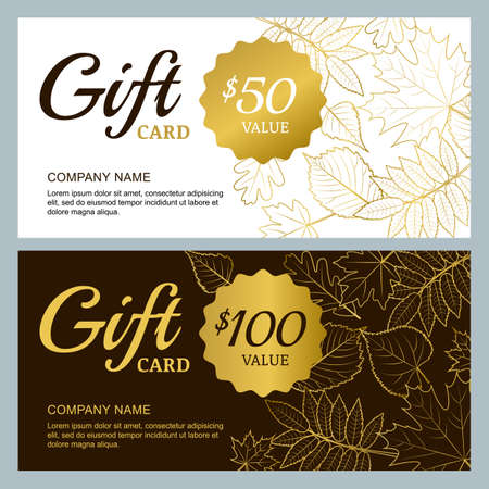 fall leaves on white: Vector gift voucher template with golden outline fall leaves. Gold, black and white autumn holidays cards. Design concept for gift coupon, invitation, certificate, flyer, banner. Illustration