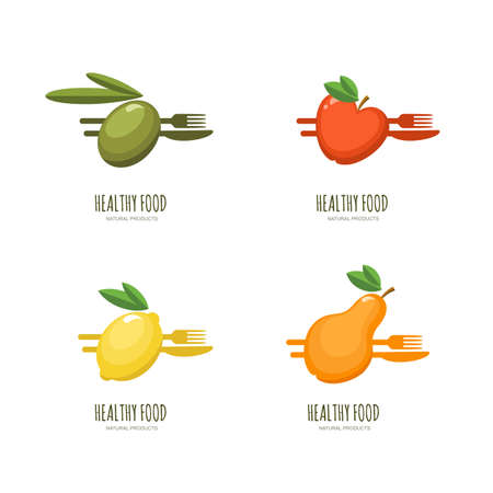 olive farm: Set of vector healthy food emblem, label design. Olive, apple, lemon, pear with fork and knife, isolated on white. Fresh farm, vegan foods, fruit market and diets concept.