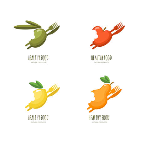 olive farm: Set of vector healthy food  emblem, label design. Bitten fruits icons. Olive, apple, lemon, pear with fork and knife, isolated on white. Fresh farm, vegan foods, fruit market and diets concept.