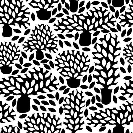 Vector black and white seamless pattern with hand drawn doodle trees. Abstract autumn nature background. Design for fabric, textile fall prints, wrapping paper. Illustration