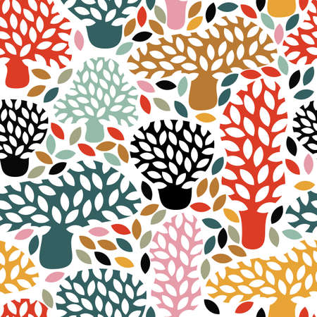 fall trees: Vector multicolor seamless pattern with hand drawn doodle trees. Abstract autumn nature background. Design for fabric, textile fall prints, wrapping paper.
