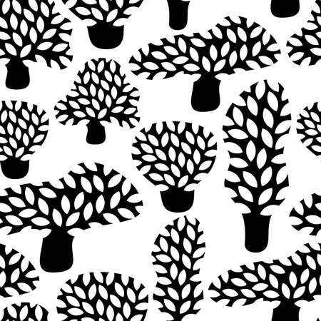 fall trees: Vector black and white seamless pattern with hand drawn doodle trees. Abstract autumn nature background. Design for fabric, textile fall prints, wrapping paper. Illustration