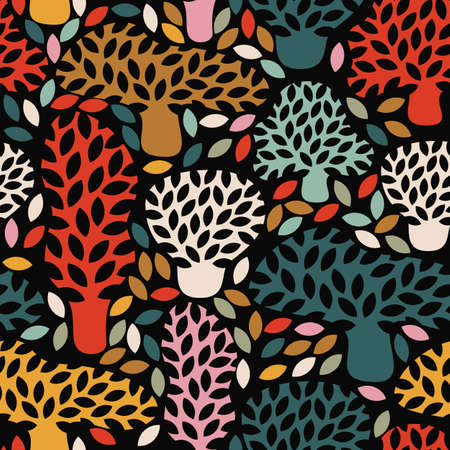fall trees: Vector multicolor seamless dark pattern with hand drawn doodle trees. Abstract autumn nature background. Design for fabric, textile fall prints, wrapping paper. Illustration