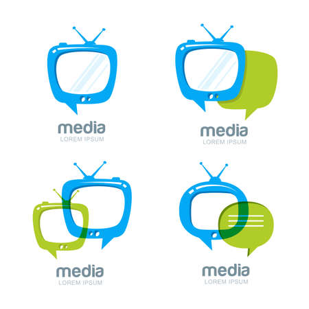 Media and tv news vector design template. Television broadcast concept. Isolated tv speech bubble icons set.