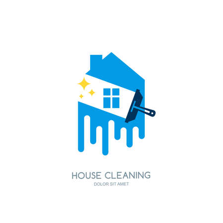apartment cleaning: Cleaning service vector   emblem or icon design template. Clean house isolated illustration.