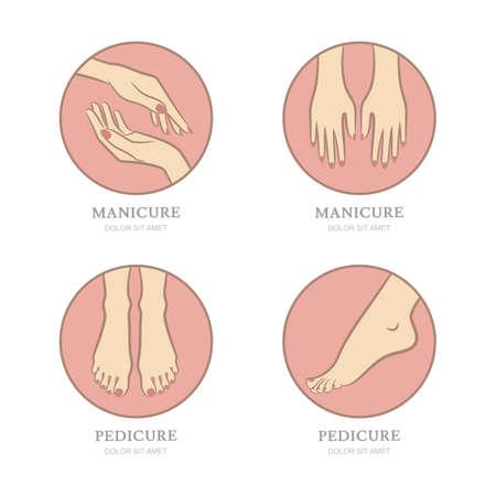 manos y pies: Vector conjunto de manicura y pedicura emblema, etiqueta de la plantilla de diseño. Manos femeninas en forma de círculo. Mujeres pies ilustración. Concepto para el salón de belleza, manicura y pedicura cosméticos, cuidado del cuerpo. Vectores