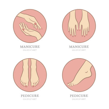 Vector set of manicure and pedicure emblem, label design template. Female hands in circle shape. Womens feet illustration. Concept for beauty salon, manicure and pedicure cosmetics, body care. Vektorové ilustrace