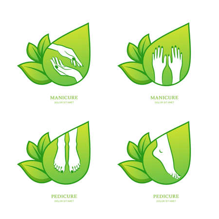 pedicure set: Vector set of womens manicure and pedicure   emblem, label design template. Female hands with green leaves. Concept for beauty salon, manicure and pedicure cosmetics, organic body care and spa. Illustration