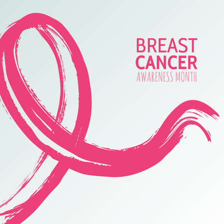 Vector watercolor hand drawn illustration of pink ribbon, breast cancer october awareness month. Abstract background for banner, poster, flyer design template.  イラスト・ベクター素材