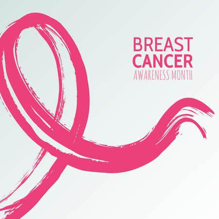 Vector aquarelle main illustration tirée du ruban rose, cancer du sein octobre, mois de conscience. Résumé de fond pour bannière, affiche, modèle de conception flyer.