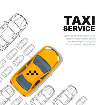 yellow cab: Taxi service concept.  poster or background template. Taxi yellow cab and outline cars isolated on white background. Street traffic, parking, city transport illustration. Illustration
