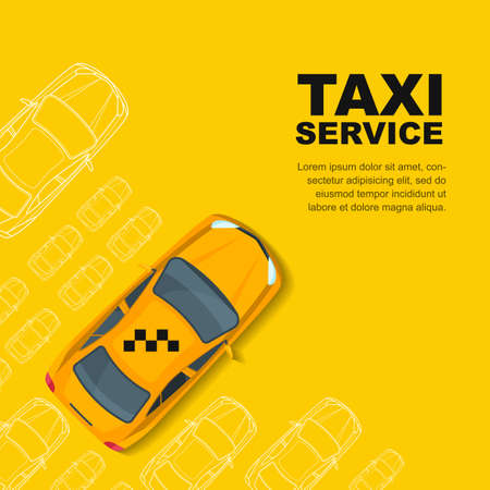 Taxi service concept. yellow , poster or  background template. Taxi yellow cab and outline cars isolated on white background. Street traffic, parking, city transport illustration. Illustration
