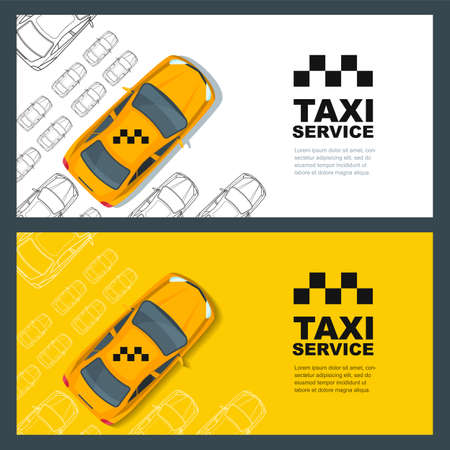 yellow cab: Taxi service concept. yellow , poster or background template. Taxi yellow cab and outline cars isolated on white background. Street traffic, parking, city transport illustration.