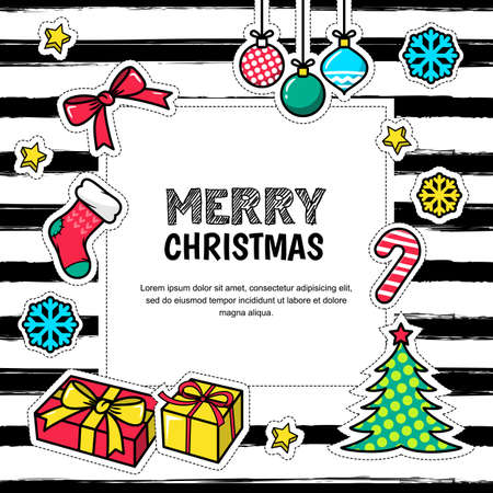 white patches: Merry Christmas and Happy New Year 2017,  greeting card. poster of design template. Holiday icons, patches, stickers and white frame on striped background. Illustration