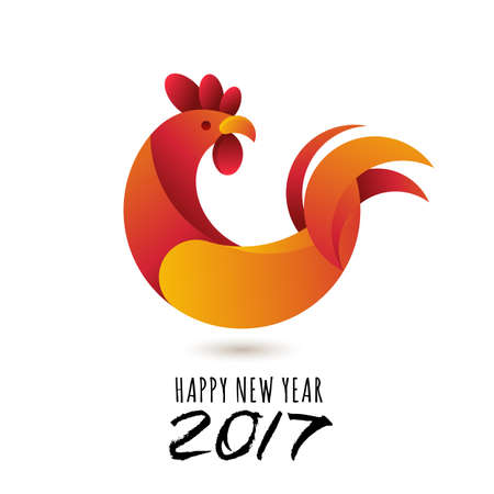 horoscope: Happy New Year 2017.  greeting card with red rooster modern symbol of 2017 and calligraphy. Chinese calendar decoration. Red cock isolated illustration, new year design element.