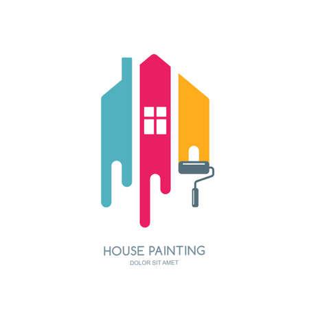 Usługa malowanie dom, wystrój i naprawa wielokolorowe ikony. etykieta, godło projekt. Koncepcja wnętrz, budownictwa, budowy domu i barwienia.