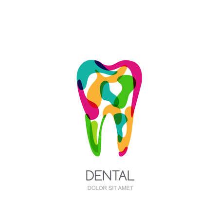 simbolo medicina: Concepto creativo para la clínica dental, dentista y la medicina. Extracto colorido aislado diente icono, símbolo, emblema Vectores