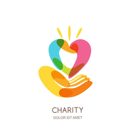 give: Charity  design template. Abstract colorful heart on human hand, isolated icon, symbol, emblem. Concept for voluntary, non profit organization or health and healthcare themes.