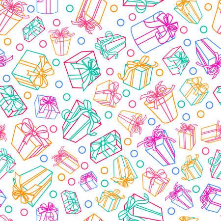 Bezszwowych bia? Y wzór z wielokolorowe szkicu prezentów pola i wst ?? ki. Wzornictwo do tkanin, druk tekstylnych, papier pakowy. Koncepcja wakacyjnych tle, karta z pozdrowieniami lub sklep z pamiątkami.