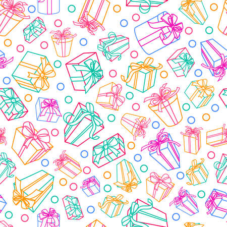 gift shop: seamless white pattern with multicolor outline gift boxes and ribbons. Design for fabric, textile print, wrapping paper. Concept for holiday background, greeting card or gift shop.