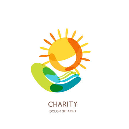 insurance themes: Charity  design template. Abstract colorful sun on human hand, isolated icon, symbol, emblem. Concept for voluntary, non profit organization, insurance or education themes.