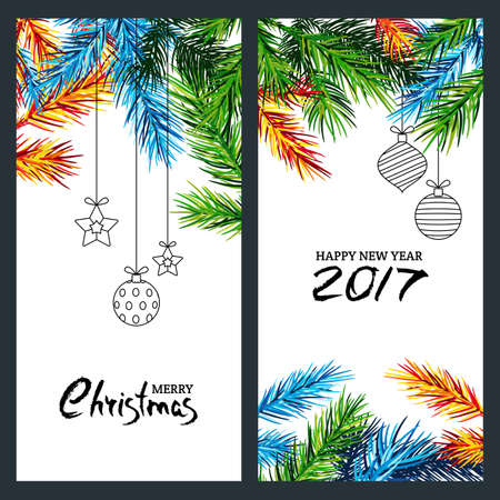 christmass: Merry Christmas and Happy New Year 2017. Set of  poster with multicolor fir branches, toys and calligraphy lettering. Design elements for invitation and greeting cards.