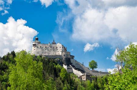 historical landmark: Medieval Hohenwerfen castle. Historical landmark on Salzach valley, Austria.