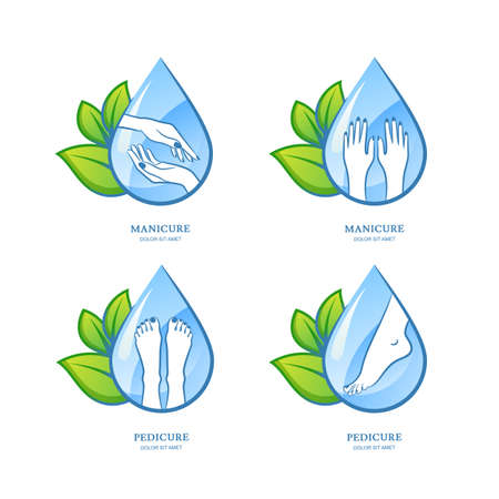 body of water: set of women manicure and pedicure , label design. Female hands and feet on water drop background. Concept for beauty salon, manicure, pedicure cosmetics, organic body care and spa.