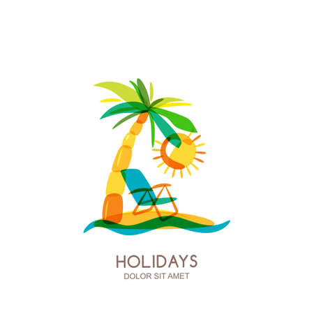 seaside resort: design template. Colorful island, palms and beach chair on seaside. Concept for travel agency, tropical resort, beach hotel, spa. Summer vacation isolated drawn illustration.