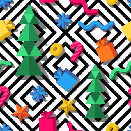 seamless geometric pattern. 3d stylized Christmas and New Year icons on monochrome background. Design for fashion textile print, wrapping paper, web background. Christmas celebration elements. Illustration