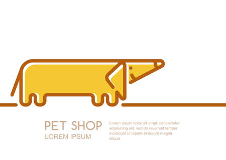 care symbol: label or emblem design template with linear style friendly dachshund dog. Creative trendy concept for pet shop, pets care and grooming, veterinary. Outline dachshund dog isolated symbol.