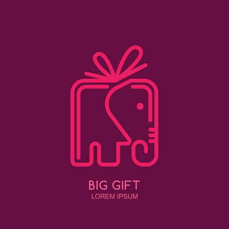 gift shop: label or emblem design template with linear style elephant gift box. Creative trendy concept for holidays and gift shop. Outline elephant symbol. Illustration
