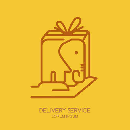 label or emblem design template with linear style elephant postal box. Big parcel on human hand. Creative trendy concept for express delivery, courier service, cargo business.