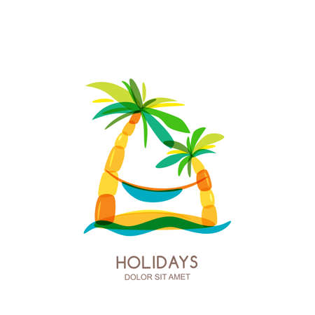 seaside resort: design template. Abstract colorful island, palms and hammock on seaside. Concept for travel agency, tropical resort, beach hotel, spa. Summer vacation isolated drawn illustration.