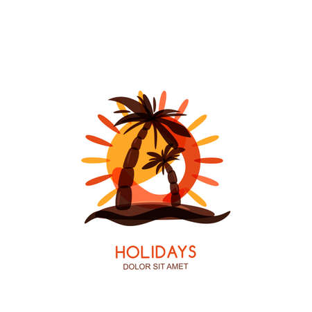 seaside resort: Vector logo design template. Tropical island, palms and sunset on seaside. Concept for travel agency, tropical resort, beach hotel, spa. Summer vacation isolated hand drawn illustration. Illustration