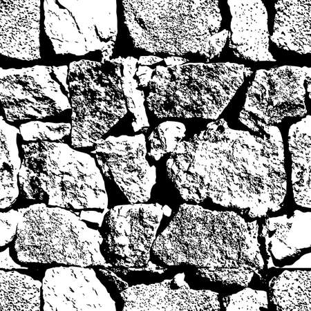 brick texture: Vector grunge seamless texture. Abstract black and white stone wall background. Close up of old stone wall texture. Vintage brick background. Design for textile print, wrapping or web.