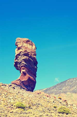 stratovolcano: Roques de Garcia, unique mountain. Roque Cinchado in El Teide National park. Stock Photo