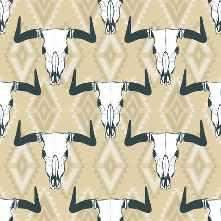beige backgrounds: Vector seamless pattern with hand drawn buffalo skulls. Tribal style geometric ornament. Bull white scull on beige background. Design for fashion boho textile print, wrapping, backgrounds.
