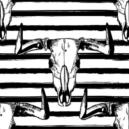 scull: Vector seamless striped pattern with hand drawn buffalo skulls. Tribal grunge ornament. Bull white scull on black stripes background. Design for fashion boho textile print, wrapping, backgrounds.