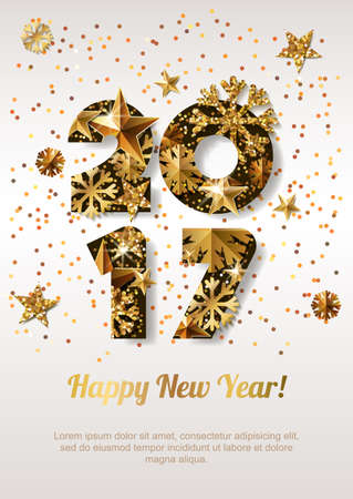 numbers abstract: Happy New Year 2017 vector greeting card with golden numbers. Abstract holiday glowing background. Stars and snowflakes with gold shining pattern. Concept for New Year banner, poster, flyer.