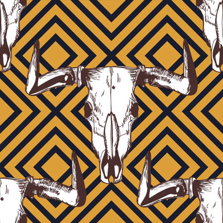 scull: Vector seamless geometric pattern with hand drawn buffalo skulls. Tribal ornament with bull white scull on black and yellow background. Design for fashion boho textile print, wrapping.