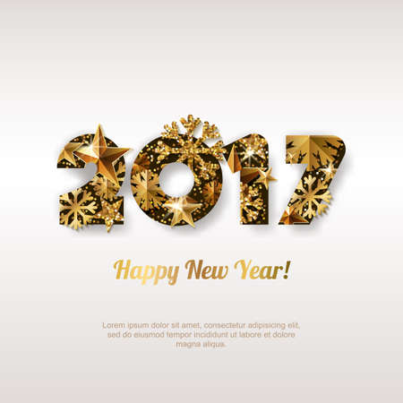 new years eve party: Happy New Year 2017 vector greeting card with golden numbers. Abstract holiday glowing background. Stars and snowflakes with gold shining pattern. Concept for New Year banner, poster, flyer.