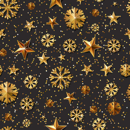christmas backgrounds: Christmas or New Year vector seamless pattern with gold stars and snowflakes. Holiday black glowing background. Golden shining texture for banner, poster, flyer, party invitation, web backgrounds.