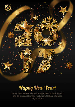 ribbon background: Happy New Year 2017 vector greeting card with golden numbers. Holiday black background with gold blurred ribbon, stars, snowflakes. Concept for New Year banner, poster, flyer, party invitation..