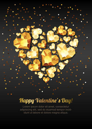 golden: Happy Valentines day vector greeting card. Gold gem heart on black background. Golden holiday poster with diamonds, jewels. Concept for Valentines banner, flyer, party invitation, jewelry gift shop. Illustration