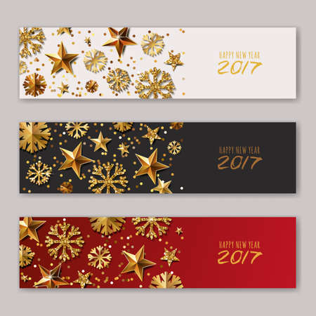 christmas backgrounds: Set of New Year 2017 or Christmas vector horizontal banners with gold stars and snowflakes. Holiday golden background. Design poster, flyer, party invitation, web backgrounds. Illustration