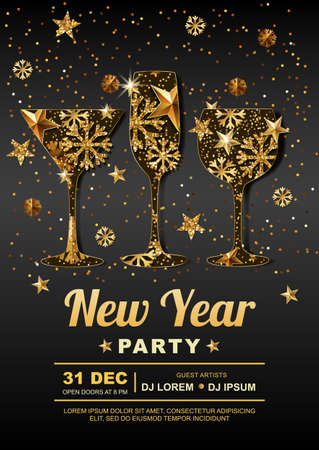 champagne: New Year party vector poster design template with. Golden stars, snowflakes in gold wine, champagne, martini drinking glass. Concept for banner, flyer, invitation, greeting card, holiday backgrounds.