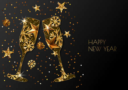 67993613 happy new year vector greeting card with two gold champagne glass holiday glowing black background with golden stars and snowflakes